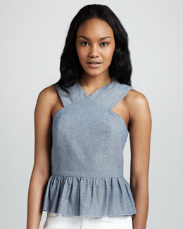 6 Shoreroad Lagoon Chambray Peplum Top
