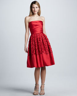 Naeem Khan Strapless Lace-Skirt Cocktail Dress