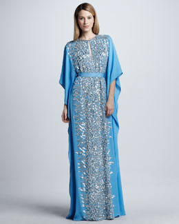 Naeem Khan Sequined Silk Caftan Gown