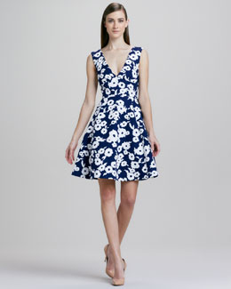 kate spade new york martin floral-jacquard flare dress