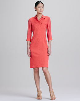 Elie Tahari Austin Placket Shirt Dress