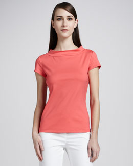 Lafayette 148 New York Cotton-Blend Mock-Neck Tee