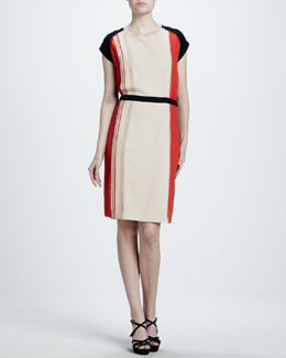 J. Mendel Belted Colorblock Crepe Dress, Shell/Poppy