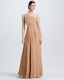 J. Mendel One-Shoulder Georgette Gown, Sandstone