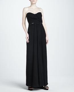 J. Mendel Mousseline Strapless Gown, Black