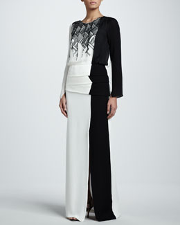 J. Mendel Embroidered Georgette Gown