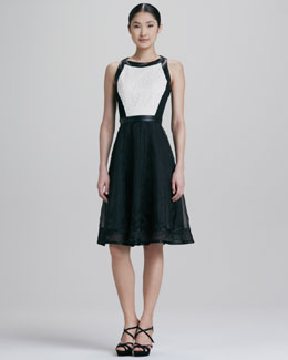Carmen Marc Valvo Leather-Trimmed Cocktail Dress