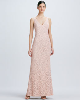 Aidan Mattox Sleeveless V Neck Lace Gown