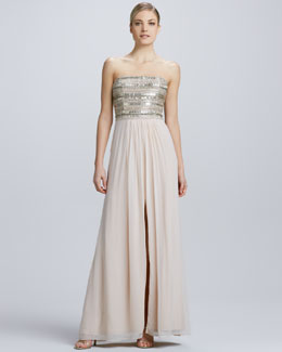 Aidan Mattox Strapless Chiffon High-Slit Gown