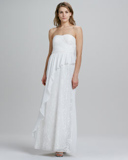 Aidan by Aidan Mattox Strapless Asymmetric Draped Gown