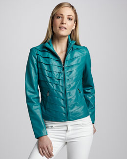Neiman Marcus Tiered Leather Jacket