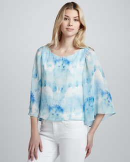 Alice + Olivia Josie Bell-Sleeve Top