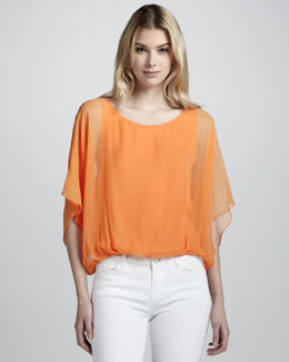 Alice + Olivia Strayla Sheer-Sleeve Blouse