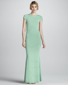 Alice + Olivia Orli Striped Open-Back Maxi Dress
