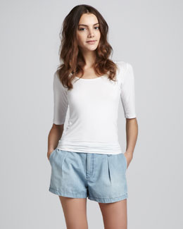 7 For All Mankind Lightweight Pleated Shorts