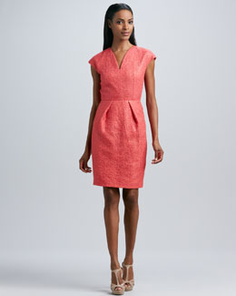 Carmen Marc Valvo Sequined Lace V-Neck Cocktail Dress