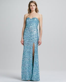 La Femme Boutique Strapless Sequined High-Slit Gown
