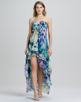 La Femme Boutique Strapless High-Low Floral-Print Gown