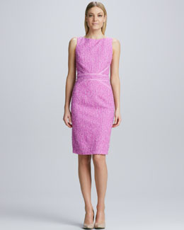 David Meister Tweed Ribbon-Trimmed Sheath Dress