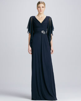 David Meister Flutter-Sleeve Beaded-Waist Gown