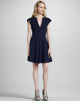 Nanette Lepore Zorba Cutout-Back Cotton Dress, Indigo