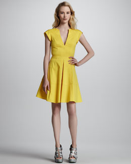 Nanette Lepore Zorba Cutout-Back Cotton Dress, Marigold