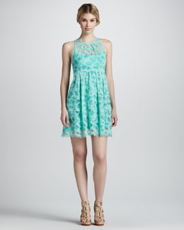 Nanette Lepore Secret Escapes Lace-Overlay Dress, Mint