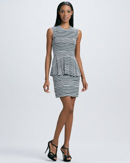 Nicole Miller Sleeveless Striped Peplum Dress