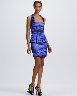 Nicole Miller Sleeveless Techno Metal Peplum Dress