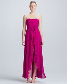 Nicole Miller Strapless Gown with Cascade