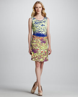 Phoebe Couture Sleeveless Jewel-Neck Sheath Dress