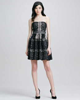 Aidan by Aidan Mattox Strapless Lace Pattern Cocktail Dress