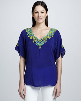Johnny Was Collection Turner V-Neck Embroidered Blouse, Women's
