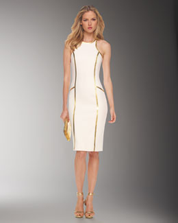 Michael Kors Boucle Crepe Racerback Sheath Dress, White