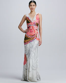 Kay Unger New York Double-V Printed Gown