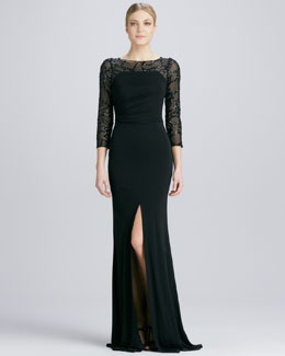 David Meister Sequined-Sleeve Jersey Gown