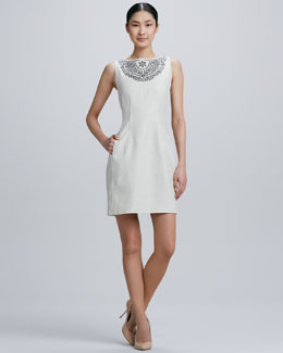 kate spade new york Cut-Out Embroidered Neckline Dress