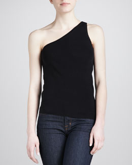 Michael Kors One-Shoulder Tank, Black