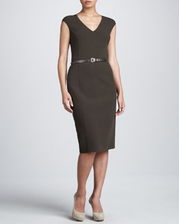Michael Kors Belted Sheath Dress, Teak