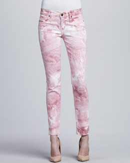 Rich and Skinny Skinny Ankle Peg Jeans, Pink Marble