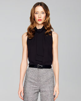 Michael Kors Sleeveless Tie-Neck Top