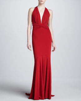 Michael Kors Halter Ruched Gown, Crimson