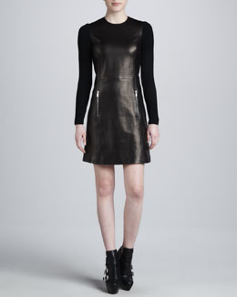 Michael Kors Leather Dress with Ribbed Sleeves
