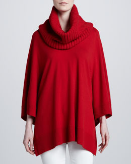 Michael Kors Detachable-Collar Poncho, Crimson
