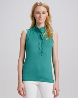 Tory Burch Lidia Ruffle-Placket Polo