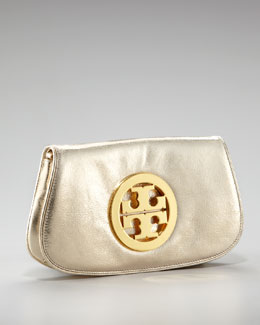 Tory Burch Metallic Logo Clutch With Chain
