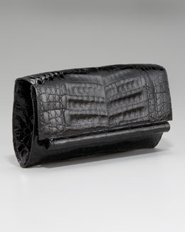Nancy Gonzalez Cylinder-Front Crocodile Bar Clutch