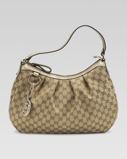 Gucci Sukey Medium Hobo, GG Fabric and Champagne Leather