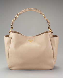 Prada Vit Daino Double-Pocket Hobo