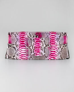 Kara Ross Leora Python Clutch Bag, Pink Berry